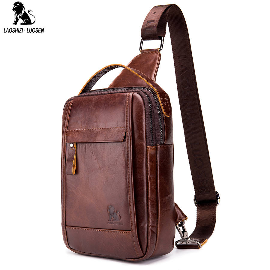 LAOSHIZI LUOSEN Vintage Chest Bag Pack Men Shoulder Bag Male Small Oil Wax Genuine  Leather Messenger Crossbody Retro Sling bag-in Waist Packs from Luggage ... 74e341b4a094f