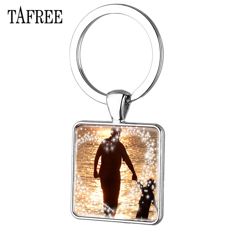 TAFREE The figure of father and child Keychain Letter Design Happy Fathers Day Luxury Metal Keyrings Car Key Chain Holder FQ897