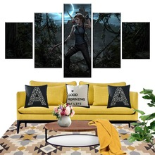 5 Piece Games Art Print Shadow of The Tomb Raider Poster Paintings Canvas Decorative for Home Decor Wall