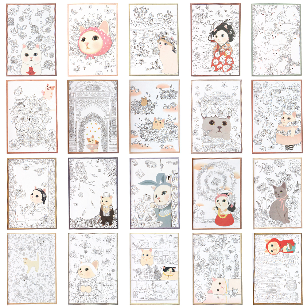 Cartoon Colorful Cat Coloring Notebook Graffiti Painting Drawing Art Notepad for Kids Stationery Gift 50 sheets 18x13cm colorful scratch art paper magic drawing colouring cards memo pad for kids stationery set graffiti diy making
