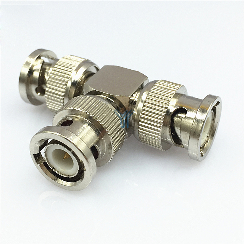 Pure Copper Material BNC Adapter Splitter Three Male Plug Q9 Male Connector Video Connector Coaxial Adapter