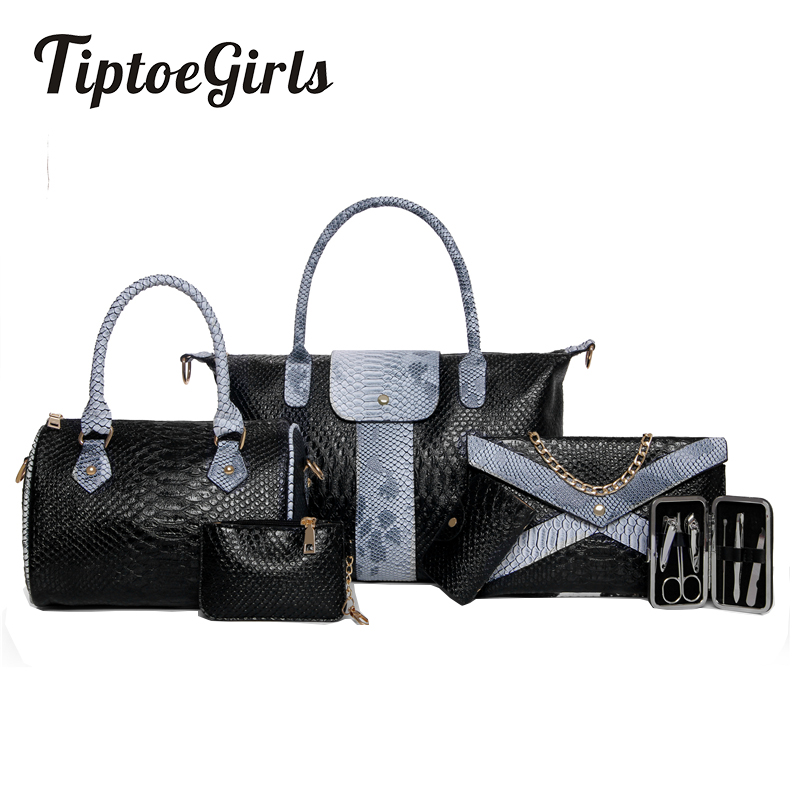 где купить New European and American Fashion Crocodile Pattern Serpentine Trend Shoulder Messenger Messenger Bag Six Sets of Bags по лучшей цене