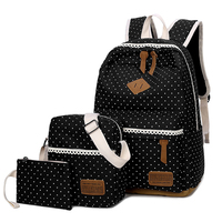 Summer Women Canvas 3Set Backpack Printing Students Bookbag 53 Pcs School Bag Set For Youth Girls