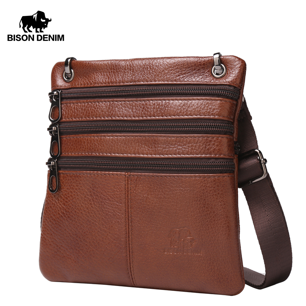 BISON DENIM Cow Genuine Leather Shoulder Bags Zipper Designer Waist Bag Business Crossbody Messenger Bags For Men Male W2434