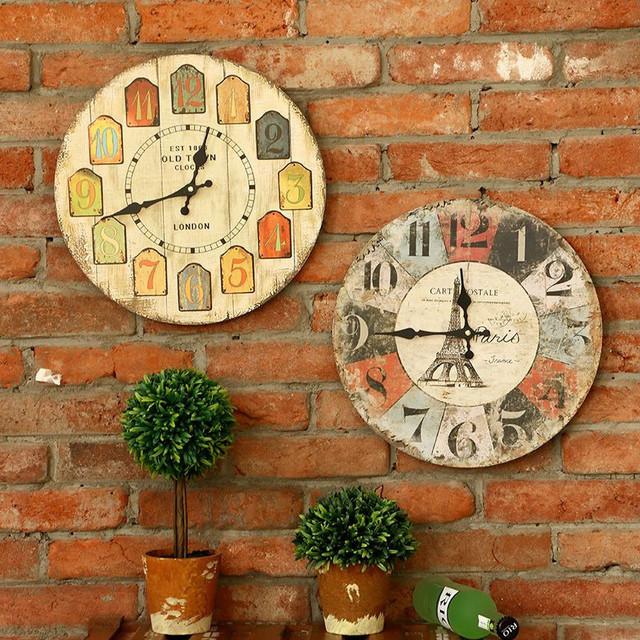 1Pcs Creative Europe Antique Style Wooden Wall Clocks Stereoscopic Sitting room clocks Mediterranean Wall Clocks Home Decor