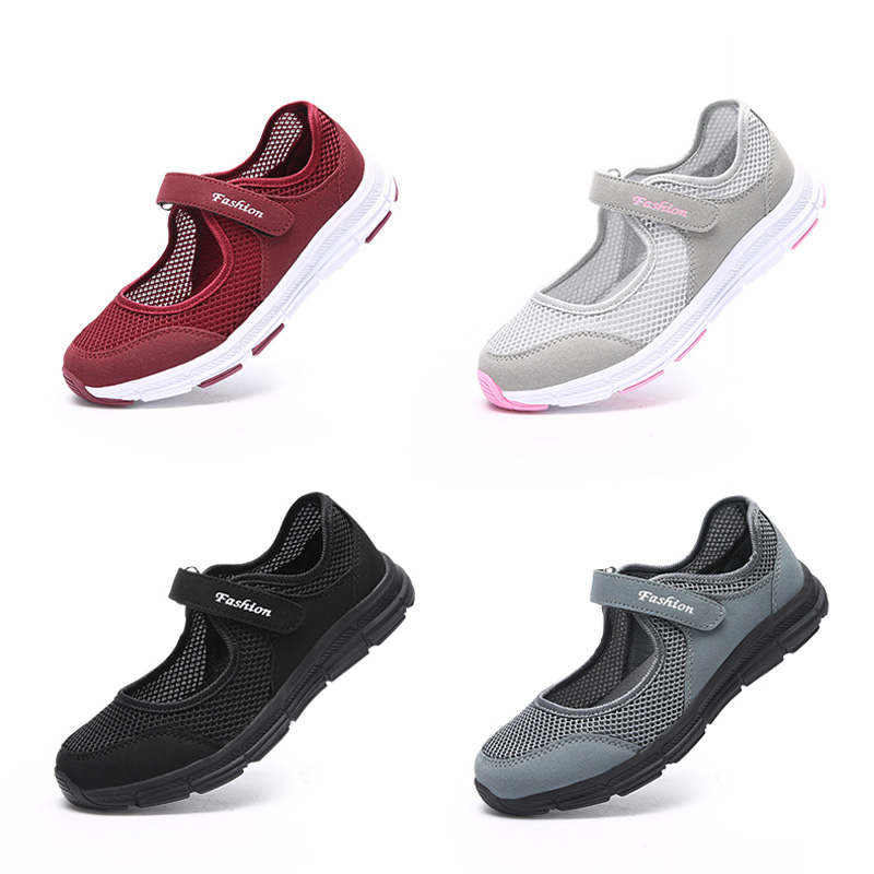 Image 2 - EOFK New Women Flats Shoes Women's Flat Mary Jane Female Ladies Mesh Fabric Breathable Gray Casual Comfortable Shoes Woman-in Women's Flats from Shoes
