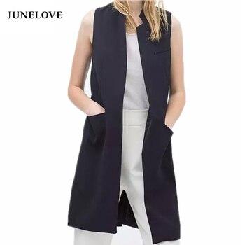 Blazer Vest Stand Collar Long Suit