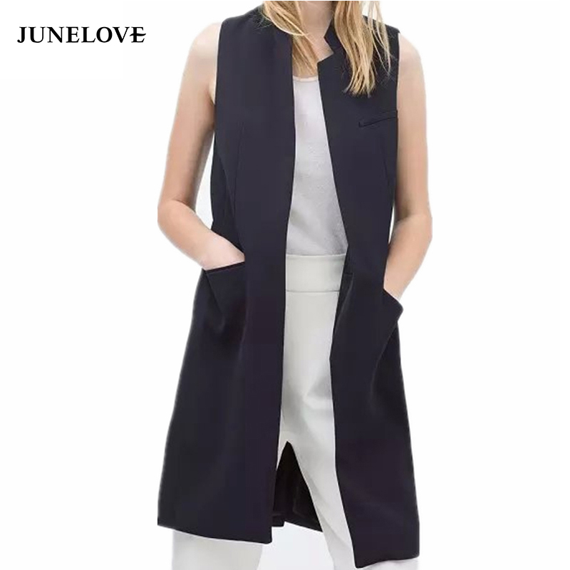 JuneLove 2018 blazer casual vest waistcoat women stand collar long suit vest female jacket coat black pockets office lady