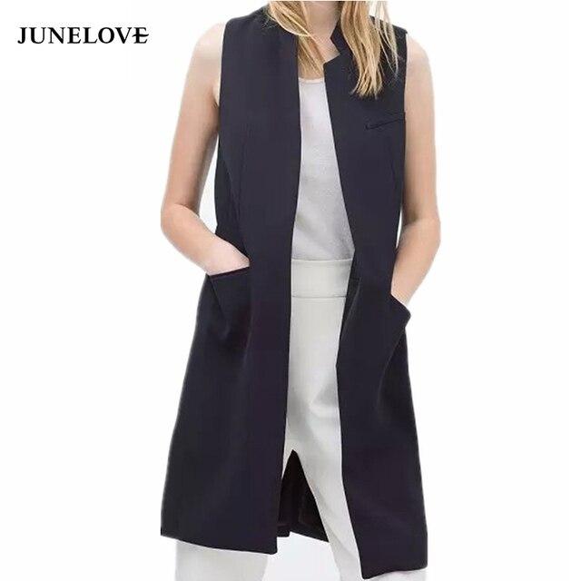 JuneLove 2019 blazer giản dị vest áo ghi lê phụ nữ đứng cổ áo dài phù hợp với vest nữ áo khoác nữ áo khoác màu đen túi phụ nữ văn phòng
