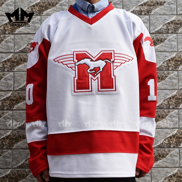 c88b08edfff MM MASMIG Youngblood Rob Lowe 10 MUSTANGS Hockey Jersey White-in ...