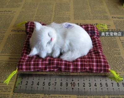 simulation cat model polyethylene& fur 12x9cm mat cat ,sounds miaow white cat handicraft,Decoration xmas gift b3554