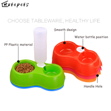 TINGHAO Pet Dog Feeding Food Double Container Drinking Bottle Bowl for Dogs Cats cat supplies