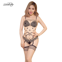 Selebritee Body Stockings Crotchless Print Bodysuit For Women Sexy Silk Sheer Lingerie Underwear Sleepwear Hot Nightgown
