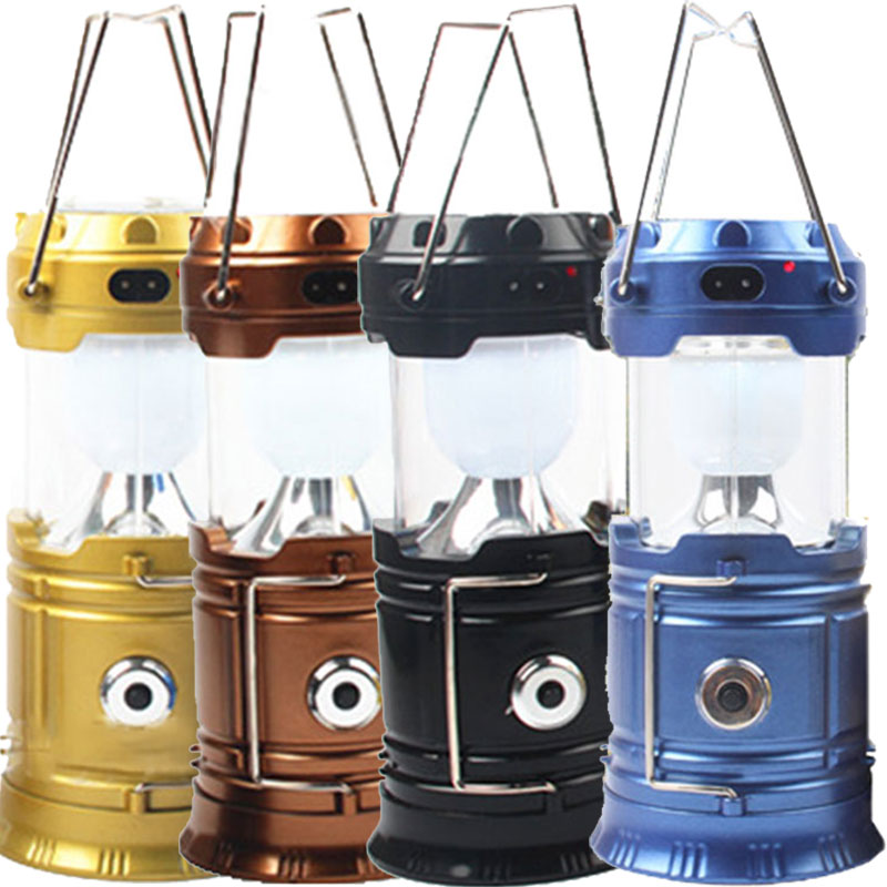 Portable Solar Rechargeable Led Camping Lantern Flashlight Ultra Bright Collapsible Solar Camping Light for Outdoor Hiking CLH