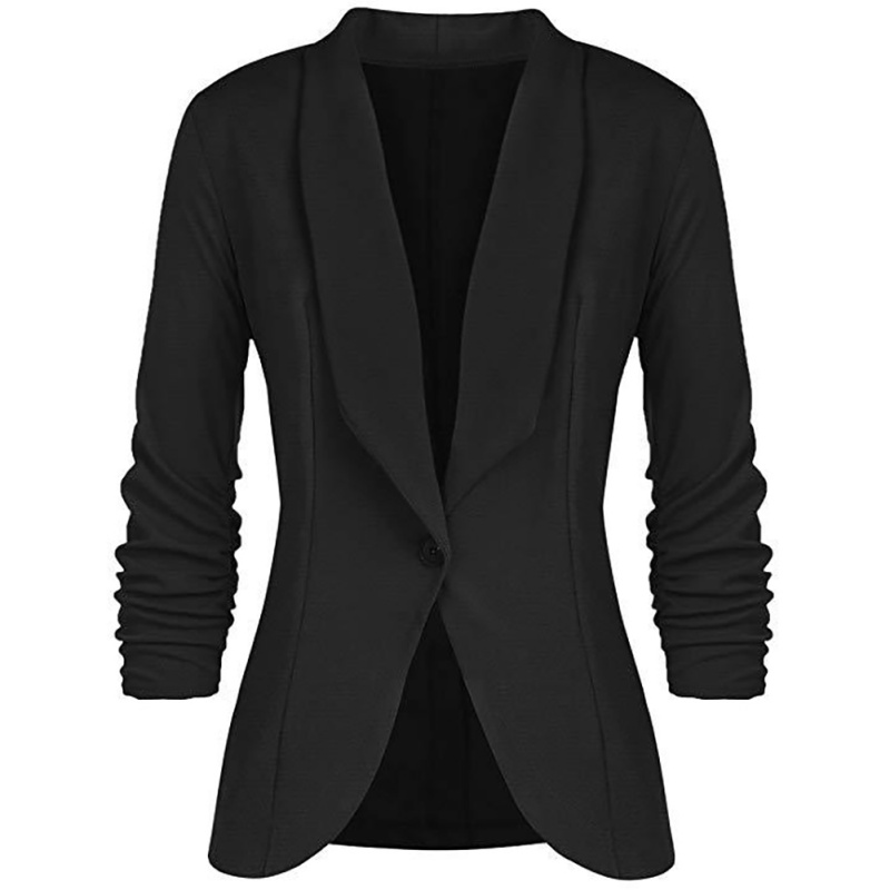 ROPALIA Women Work Casual Trend Blazers Ladies Slim Single Buckle Pleated Long-Sleeved Solid Color V-Neck Blazers Plus Size