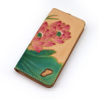 Handmade Women Wallets Carving Lotus Zipper Bag Purses Ladies Clutch Vegetable Tanned Leather Wallet Special Birthday Gifts