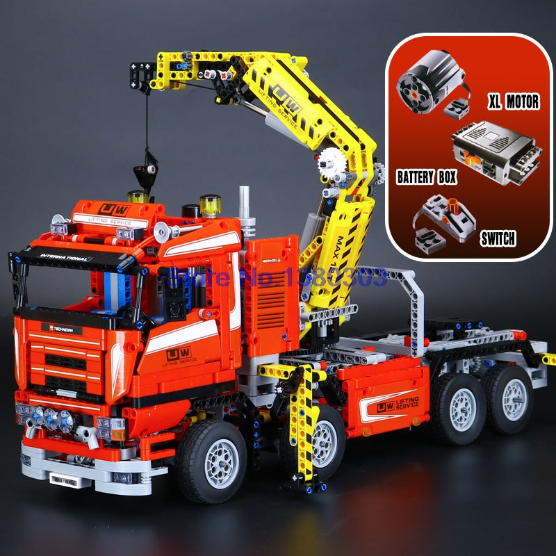 1877pcs lepin technic crane truck building blocks with electric motors power functions model. Black Bedroom Furniture Sets. Home Design Ideas
