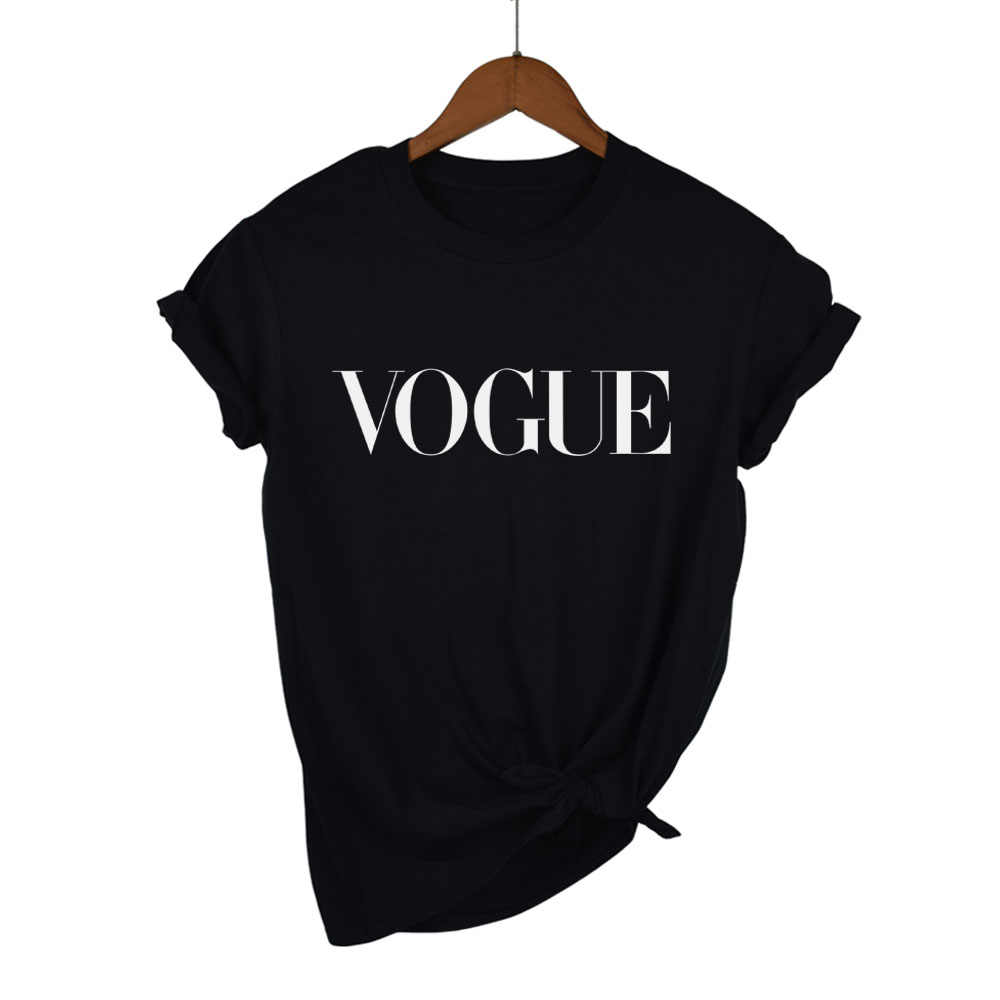 Thời trang Mùa Hè Cô Gái Ngắn Tay Áo Quần Áo đối với Phụ Nữ VOGUE Thư In Harajuku T Áo Sơ Mi Màu Đỏ Đen nữ T-Shirt Camisas