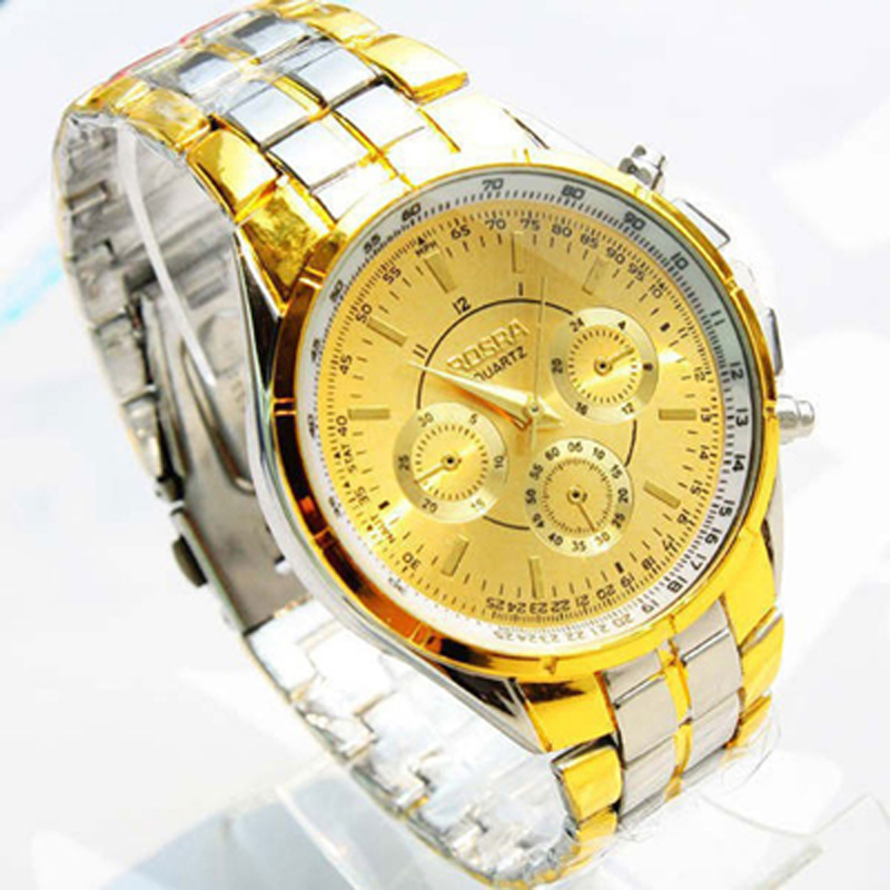 Watch Men Big Dial  Alloy Watch Bracelet Waterproof Sport Watch Decortation Dial Gold Color Watch Men