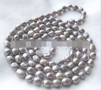 HOT N818 Pretty 44 gray baroque freshwater pearl necklace