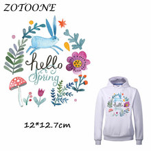 ZOTOONE Patches Iron on Transfers DIY Accessory Pretty Bunny Flower Patch for Clothing Print T-shirt Jeans Applique Clothes C