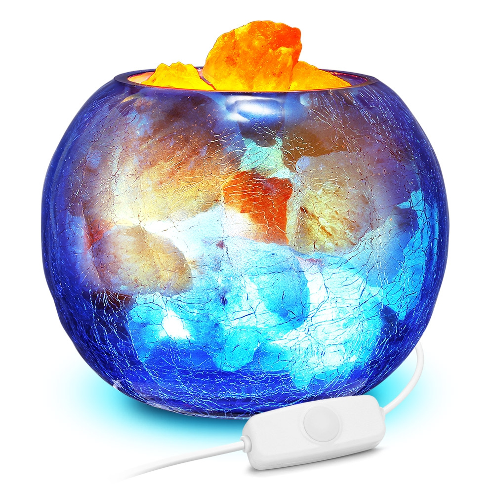 Lámpara de sal de cristal azul USB, luz LED de noche regulable con función de aire purificado, lámpara de mesa para interiores, lámpara de lava para dormitorio