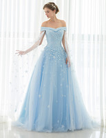 Luxury Light Blue Off the Shoulder Short Sleeve with Jacket Court Train Ball Gown Beaded Appliques Long Party Dress One piece
