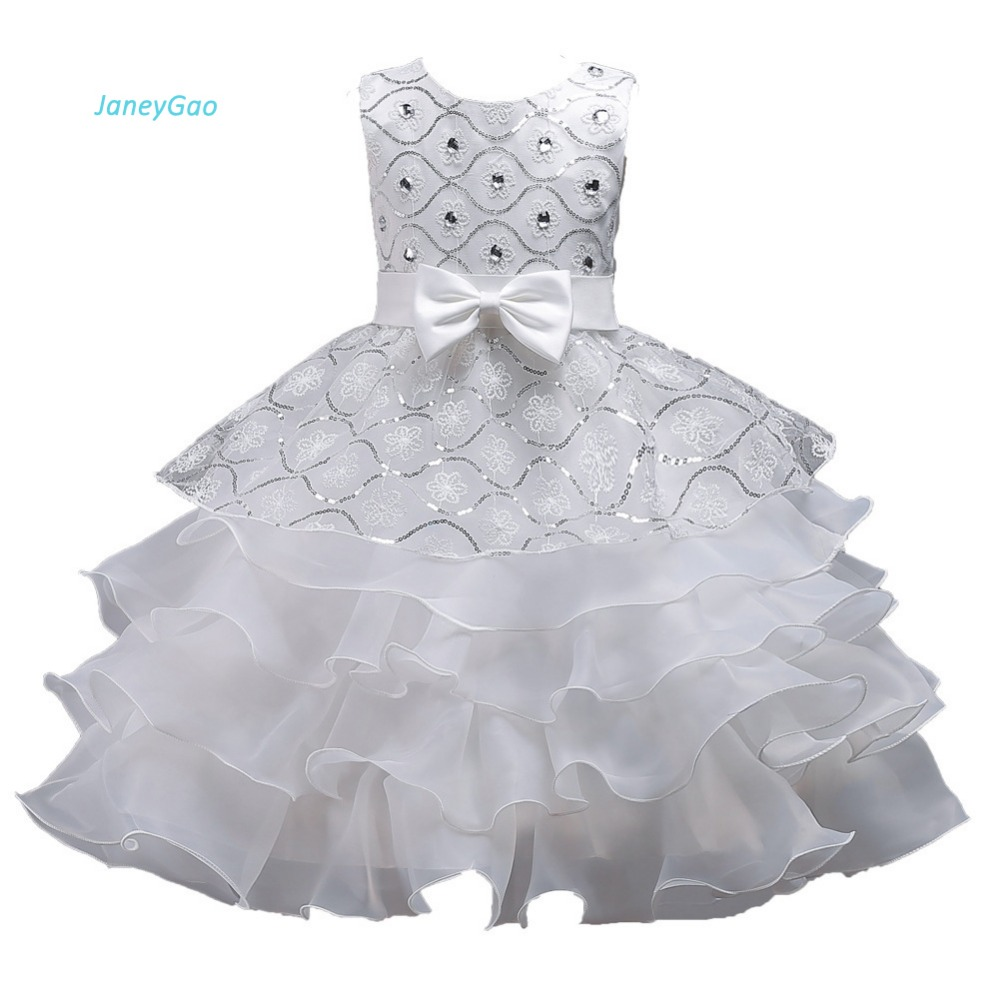 Janeygao Flower Girl Dresses For Wedding Party Elegant White With