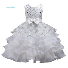 JaneyGao Flower Girl Dresses For Wedding Party Elegant White With Sequins Tiered Little Formal Gown In Stock