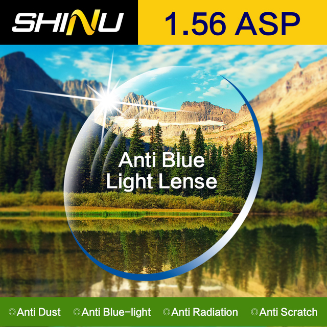 SHINU 1.56 Index Anti Blue Light Lens Computer Worker Optical Prescription Eyeglasses Eyewear For Half-Rim & Full-Rim SH1004