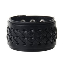 Pulsera áspera de cuero Vintage doble hebilla pulsera Simple de cuero ancho gratis y cómodo