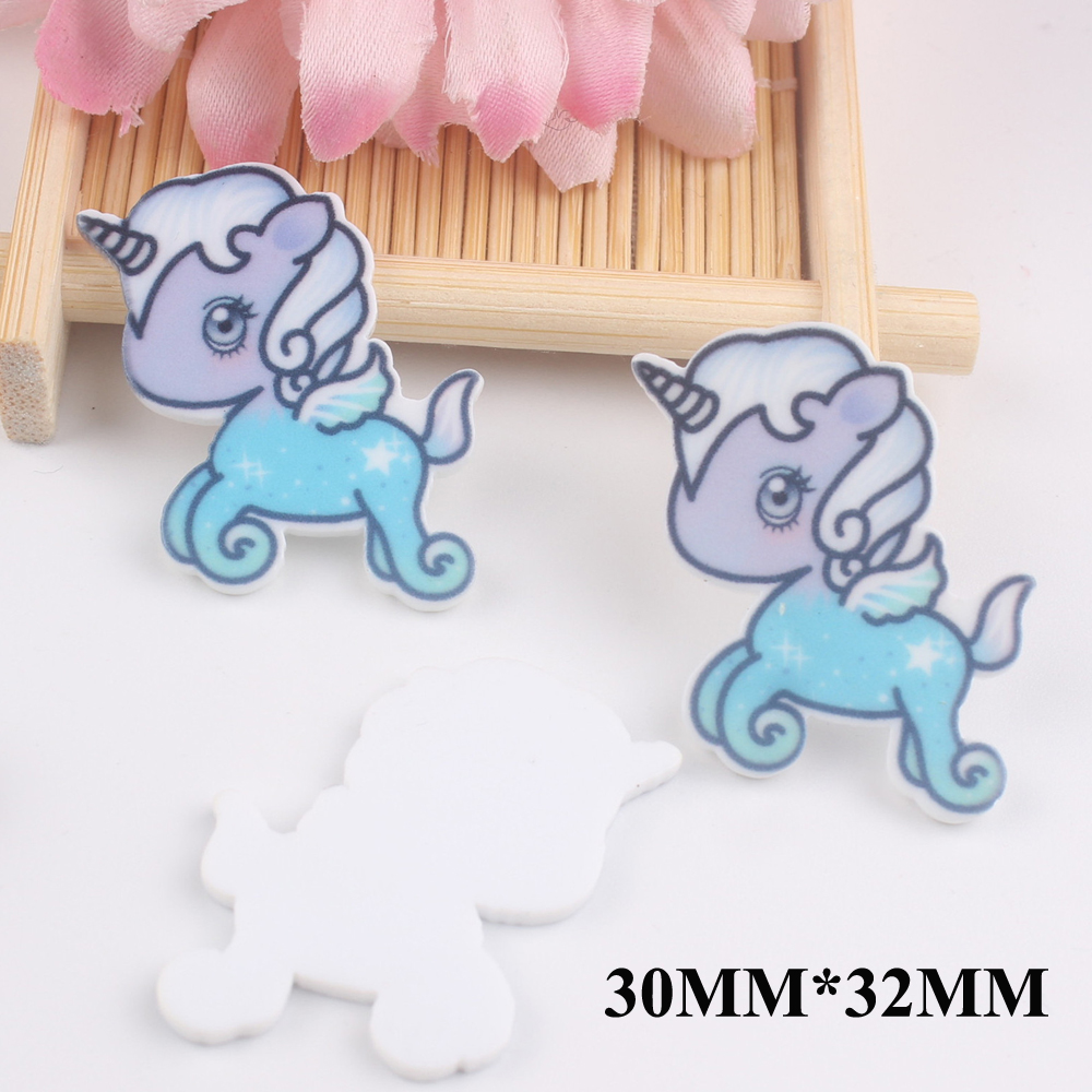 50pcs/lot 30*32MM Kawaii Cartoon Unicorn Flat Back Resins For Hair Bow Accessories Horse Planar Resin DIY Craft Decoration FR059