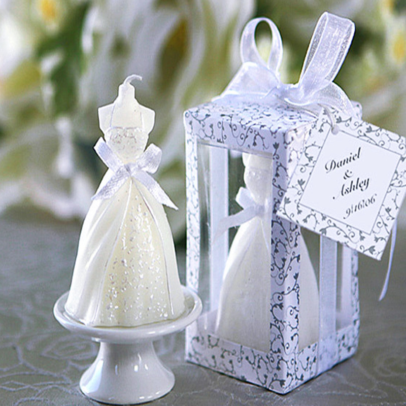 Wedding Gift For Guest: 50pcs Wedding Bride Dress Candle Favor Wedding Gifts For
