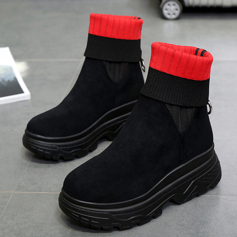 Moxxy Women s Winter Sneakers Women Sock Boots Casual Shoes Woman Ankle  Boots Women Plush Rubber Platform Boots chunky Sneakers 019d6988a262