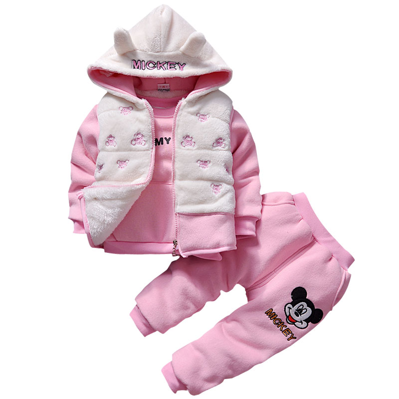 3pcs Winter Baby Girl Boys Minnie Warm Plus Velvet Thicken Vest Hoodies Jacket Padded Sweatshirts Pants Suit Kids Clothing Sets