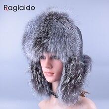 Raglaido Bomber Hats Real fox Fur+genuine leather Women's Ear-flap winter Real Fur hats russian snow trapper hats LQ11189