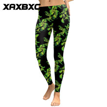 16f5d828f537e9 New 1771 Green Leaf Oil painting 3D Prints Summer Slim Fitness Workout Push  Up Women Leggings Sexy Femme Pencil Pants