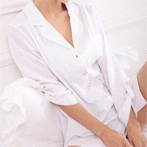 Image 3 - New Arrivals Solid Nightgowns Cotton Home Dress Nightwear Women Sleepwear Button Sleep Lounge Soft  Nightgown Female #H114