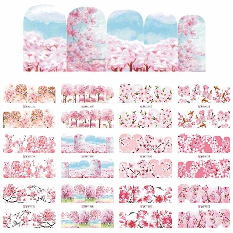 1 Set 12 Designs Cherry Blossoms Nail Sticker Nail Art Water Transfer Sticker Decor Slider Decal Manicure New BN1321-1332