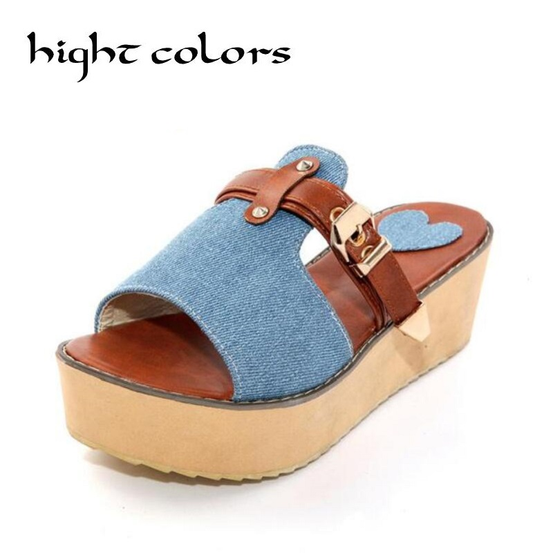 2018 New Styles Women Sandals And Slippers Flip Flop Fashion Platform Beach Slippers Wedeges High Heels Shoes Big Size 40-43 2017 han edition of the new fashion women s shoes big yards high heels crystal cool slippers 15cm