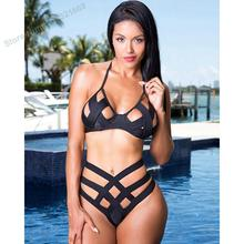 2016 NEW bandage high waist bikini cut out high waist swimwear triangle high waist swimsuit cheeky bikini high cut bathing suit