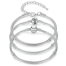 5 Style Silver Color LOVE Snake Chain Bracelet & Bangle 16CM-21CM Pulseras Lobster PA1104