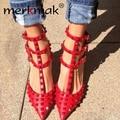 Новые 2015 женская обувь мода сексуальные заклепки высокие каблуки острым носом стрэп женская обувь на высоком каблуке туфли на высоком каблуке Sapatos Femininos WS081