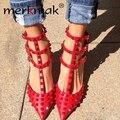 Las nuevas 2015 mujeres zapatos Sexy remaches tacones altos correa de tobillo punta estrecha mujeres zapatos de tacón alto bombas Sapatos Femininos WS081
