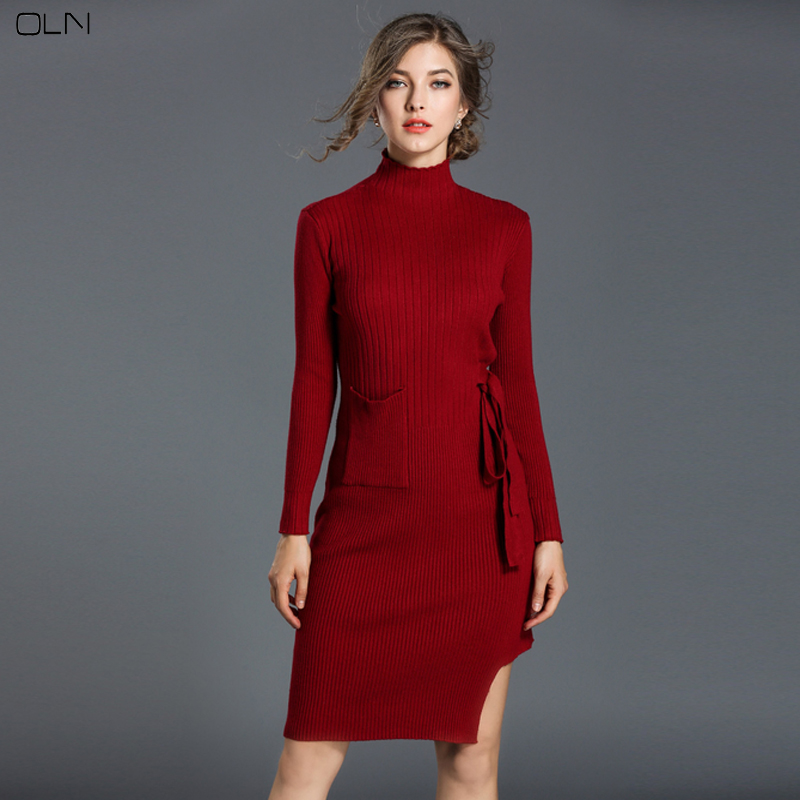 OLN Woman Knitted Long Sleeve Sweater Autumn Winter Women Casual Long Section Sweaters Multicolor Elegant Lady Sweater Keep Warm 2016 fashion autumn winter beanies knitted neon women beanie girls casual woman cap warm unisex hats 28 colors m068