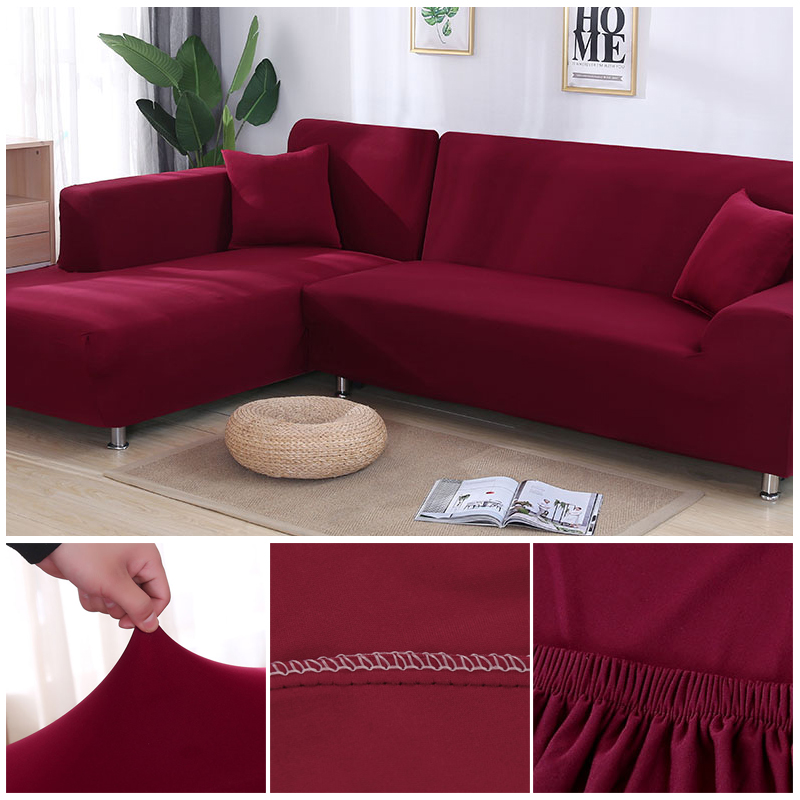 L shaped Solid Sofa Cover with Elastic for Sectional and Corner Sofa with Deep Gap Suitable in Living Room and Office 20