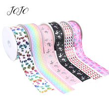 JOJO BOWS 75mm 2y Grosgrain Ribbon Unicorn Star Heart Printed Tape For Needlework Apparel Sewing Webbing DIY Hair Bows Materials