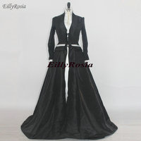 2019 Satin Gothic Wedding Dresses with Long Sleeves Mermaid Two Pieces Black and White Wedding Gowns vestido de noiva 2 em 1
