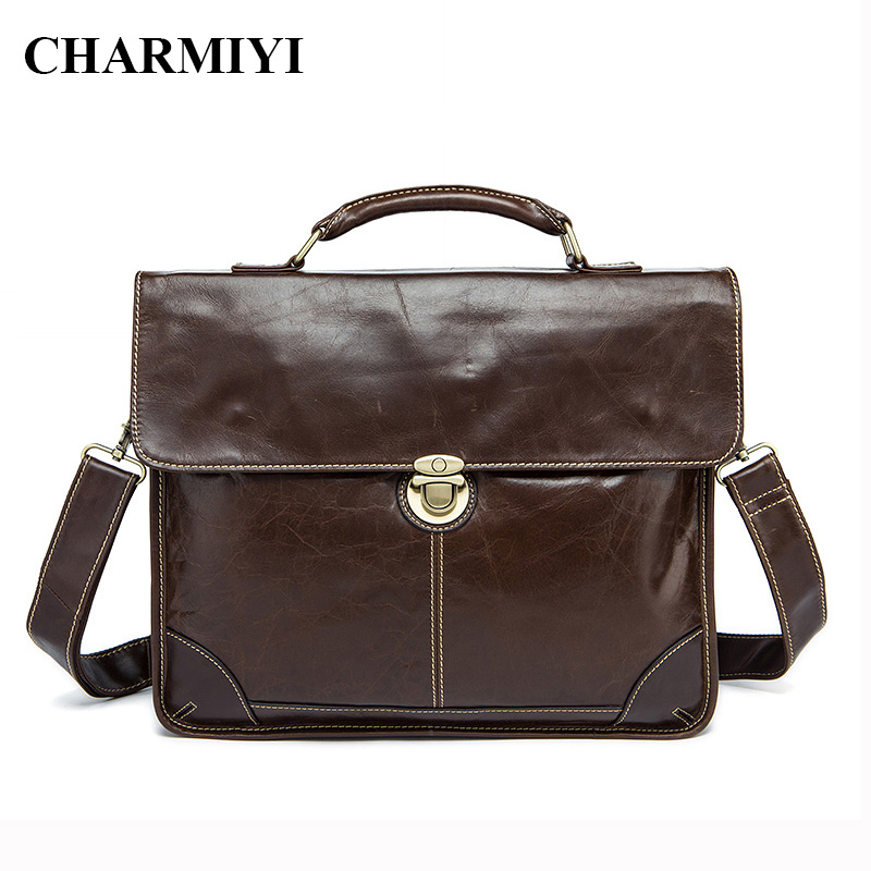 CHARMIYI Genuine Leather Men Bag Famous Brand Business Men Messenger bag Fashion Shoulder Crossbody Briefcase Bags Luxury Tote