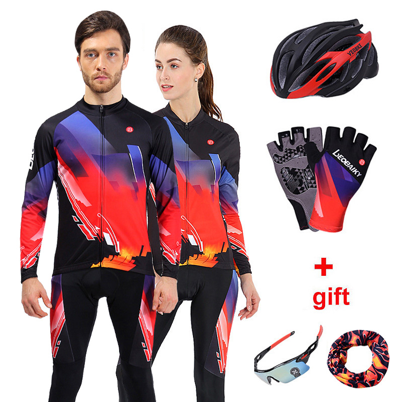 2018 Pro Team Cycling Jersey Set Men Long Sleeve Women Bicycle Clothing MTB Bike Clothes Wear
